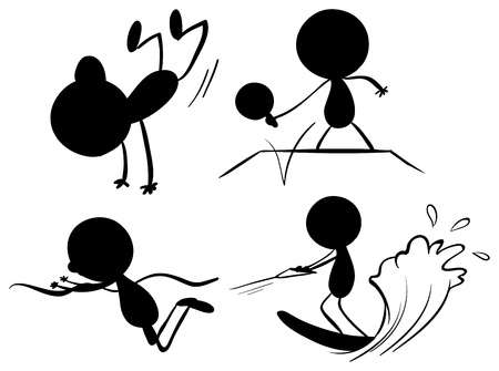 Illustration of the black colors of people playing different sports on a white background Vector
