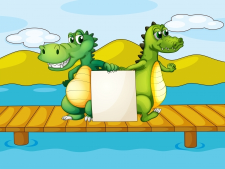 Illustration of the two crocodiles holding an empty board Vector