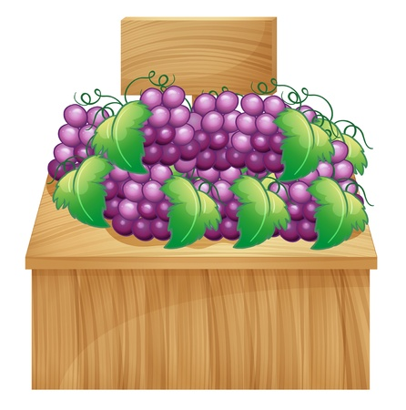 plant stand: Illustration of a fruit stand for grapes with an empty signage on a white background