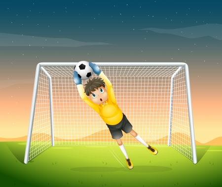 Illustration of a young football player in his yellow uniform Stock Vector - 19872472