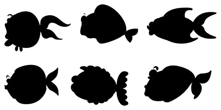 Illustration of the black images of the different sea creatures on a white background Vector