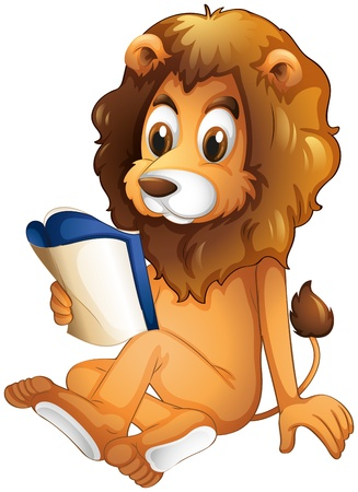 Illustration of a lion reading a book on a white background Stock Vector - 19873773
