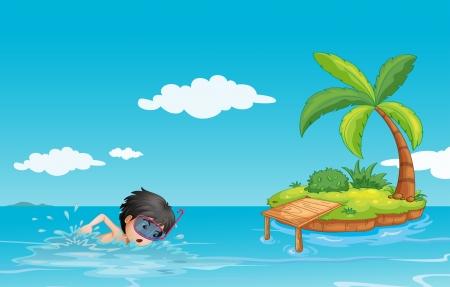 boy swim: Illustration of a young gentleman swimming near a little island