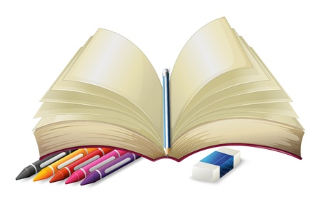 illustration of a book with a pencil an eraser and crayons on