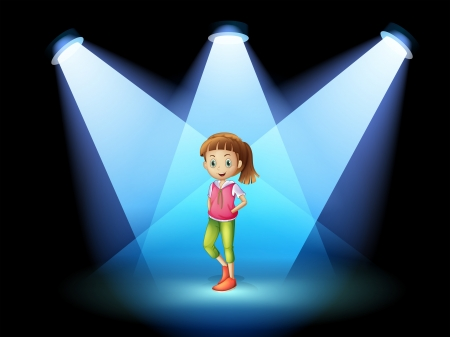 centerstage: Illustration of a stage with a young woman at the center Illustration