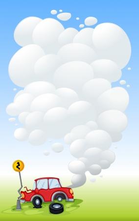 descuidado: Ilustração de um carro vermelho em um acidente Ilustração