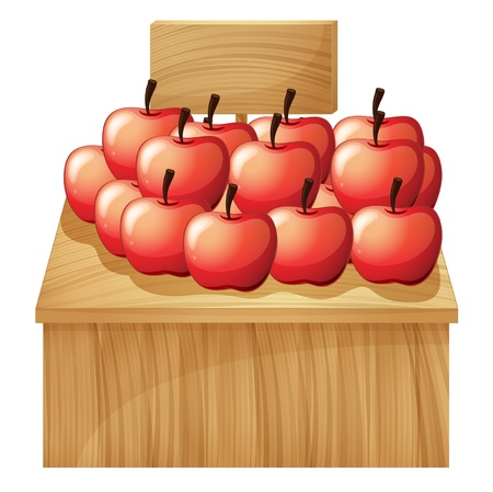 farm sign: Illustration of an apple fruitstand with an empty signage on a white background Illustration
