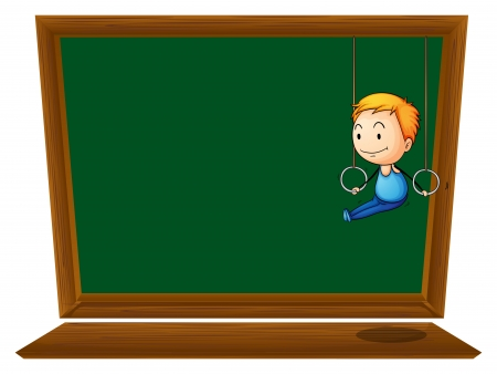 Illustration of an empty blackboard with a boy hanging on a white background Illustration