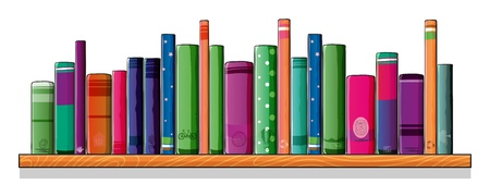 Illustration of a shelf full of books Vector