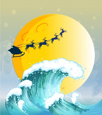 yule tide: Illustration of the big waves under the bright full moon