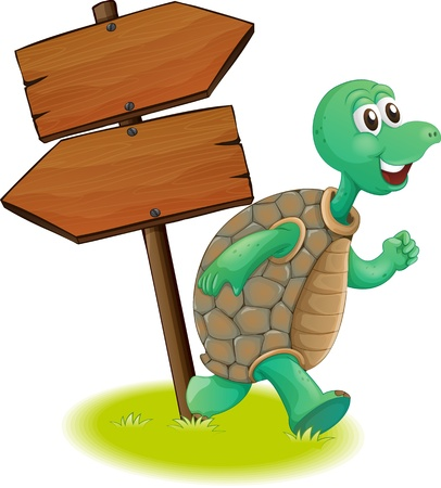 Illustration of a turtle beside the wooden arrowboards on a white background  Vector
