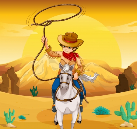 horse riding: Illustration of a white horse with a cowboy