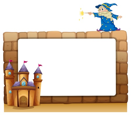building bricks: Illustration of an empty signage with a wizard and a castle on a white background