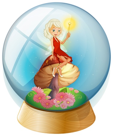 beliefs: Illustration of a fairy inside a crystal ball on a white background Illustration