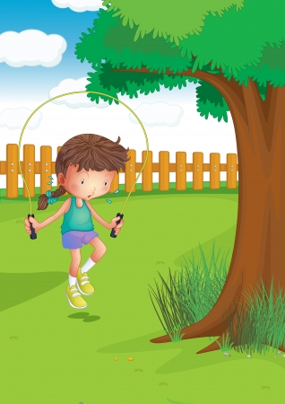 Illustration of a girl playing with a jumping rope at the garden Vector