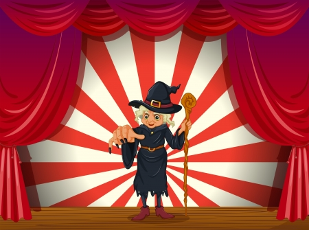 stageplay: Illustration of a scary witch holding a stick at the stage