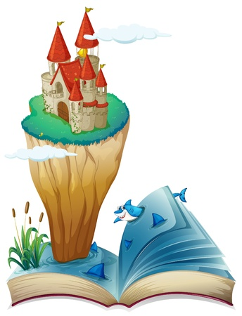 Illustration of a book with an image of an island with a castle on a white background Stock Vector - 19874580