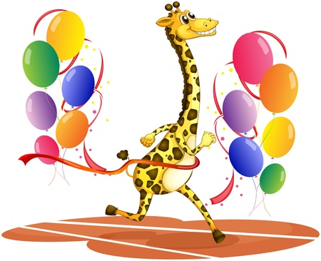 Illustration of a giraffe running with colorful balloons on a white background  Vector