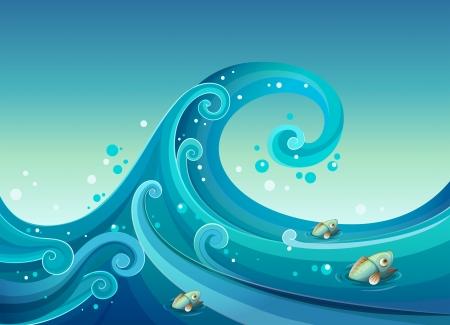 granola: Ilustraci�n de una gran ola en el mar con peces