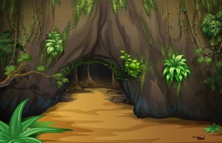 Ilustración de una gran taberna en el interior del bosque