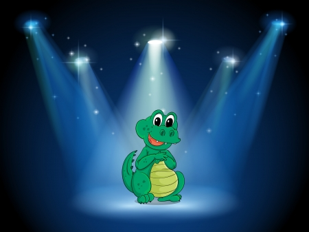 stageplay: Illustration of a young crocodile at the stage with spotlights Illustration