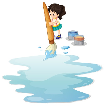 Illustration of a little girl painting the floor on a white background Stock Vector - 19874679