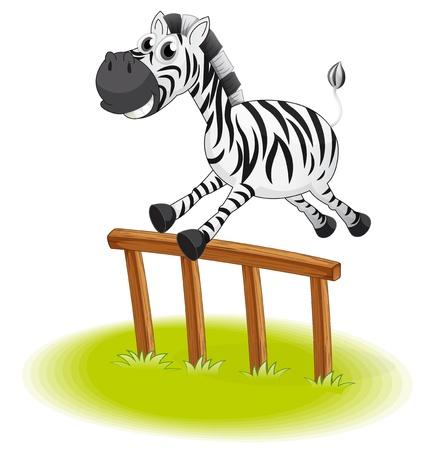 endangered: Illustration of a zebra jumping on a white background