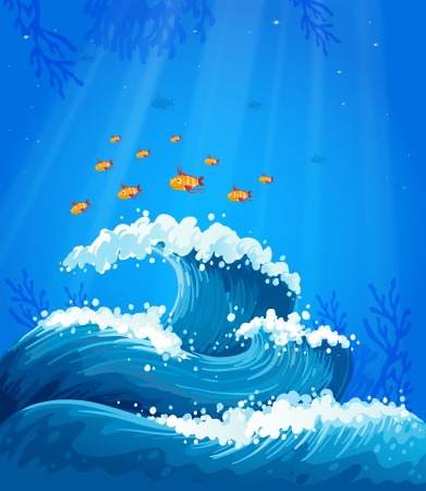 multiple image: Illustration of a wave and fishes under the sea