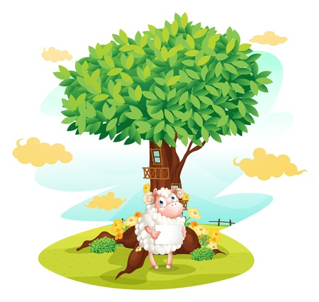 Illustration of a sheep holding an empty signboard beside a treehouse on a white backgrund  Illustration