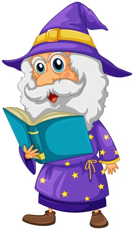 nonfiction: Illustration of a wizard holding a book on a white background