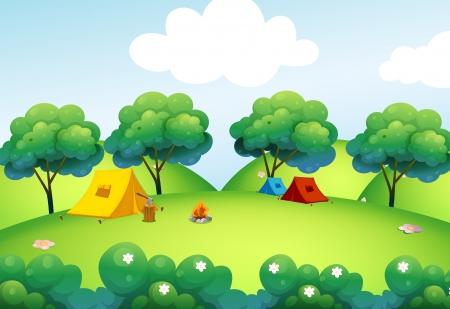 lägereld: Illustration av camping tält på toppen av kullen