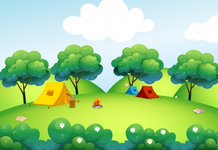 Illustration of the camping tents at the top of the hill Vector