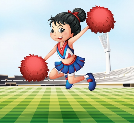 cheer leader: Illustration of a pretty and energetic cheerdancer