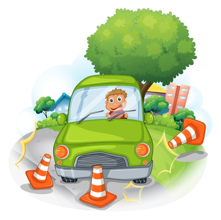 Illustration of a green car bumping the traffic cones on a white background  Vector