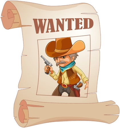 gunman: Illustration of a paper with a print of a wanted cowboy on a white background
