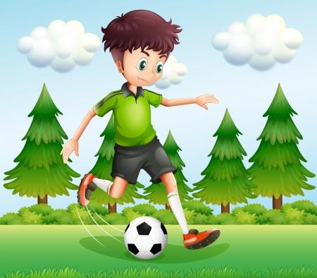 예행 연습: 소나무 근처에 공을 발로 소년의 그림 일러스트
