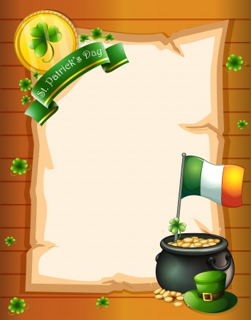 Illustration of an empty paper template for St. Patrick's day Vector