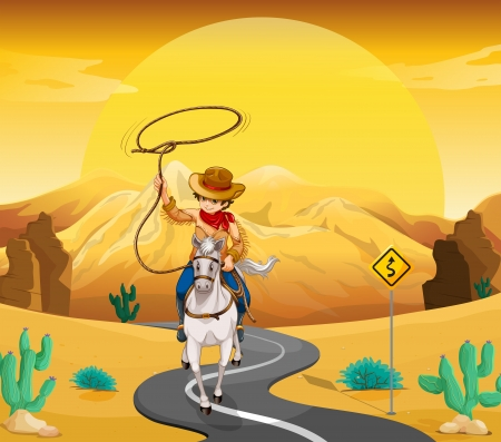 Illustration of a cowboy riding on a horse travelling through the desert Vector