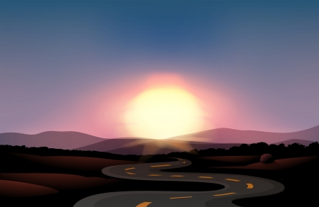 roadtrip: Illustration of a winding road and the sunset