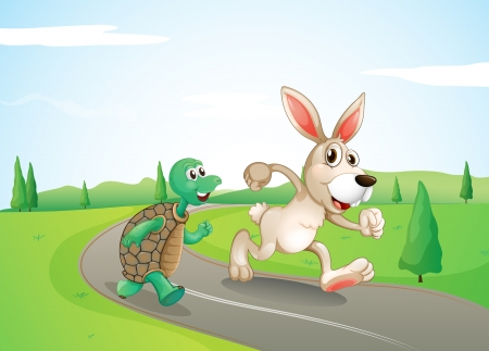 Illustration of a bunny and a turtle running along the road  Vector