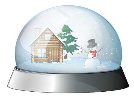 snowman wood: Illustration of a house and a snowman inside the crystal ball on a white background