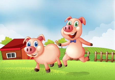Illustration of the two pigs at the farm Vector