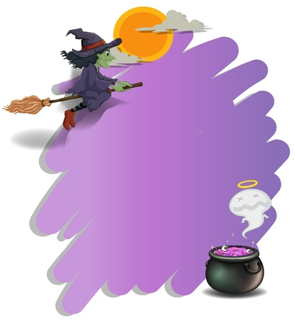 Illustration of a witch riding on a broom and an empty violet template on a white background  Vector
