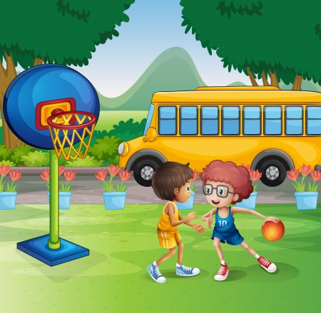 school boys: Illustration of the two boys playing basketball near the school bus Illustration