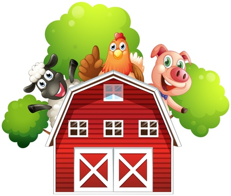 animal background: Illustration of a barn with animals at the rooftop on a white background