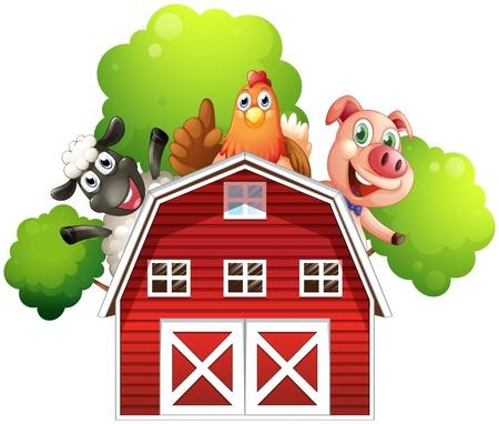 animales de granja: Ilustraci�n de un establo con animales en el tejado sobre un fondo blanco