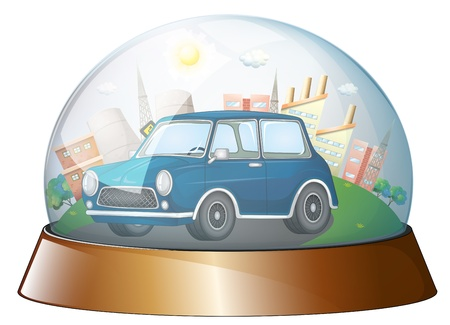 car glass: Illustration of a dome with a blue car on a white background