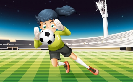 Illustration of a young lady playing soccer Stock Vector - 19874168
