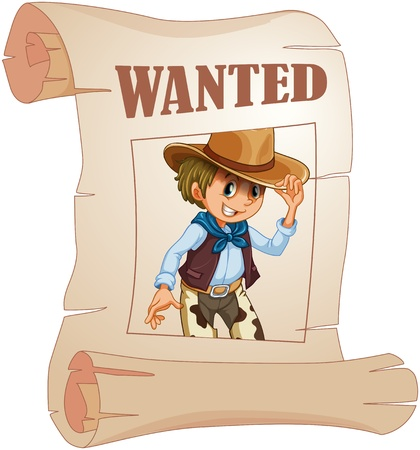 wanted: Illustration of a special paper with an image of a wanted man on a white background  Illustration