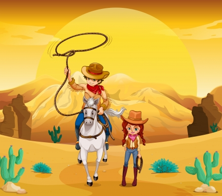 cowboy on horse: Illustration of a cowboy and a cowgirl at the desert